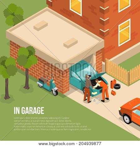 Brick garage outside view with men near car, scooter, house with fence, green trees isometric vector illustration