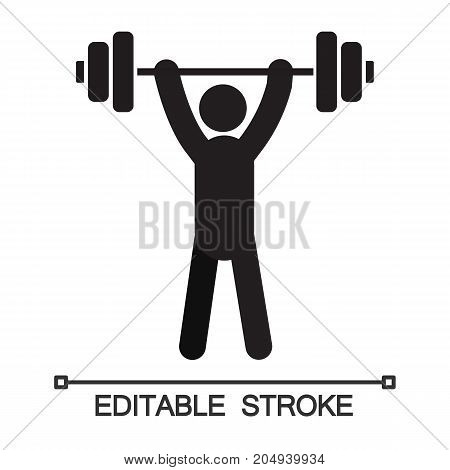 Man with barbell silhouette. Powerlifting, weightlifting. Sport training. Isolated vector illustration. Gym poster