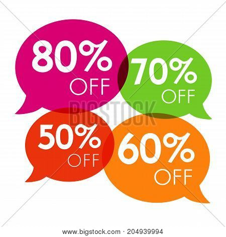 Special offer 50%, 60%, 70%, 80% sale colored speech bubble tag vector illustration. Discount offer price label, symbol advertising in retail, sale promo marketing, discount sticker on shopping day
