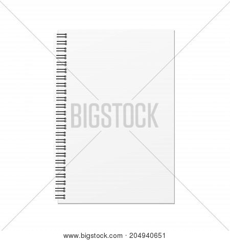 Vector blank hard cover book template on white background.