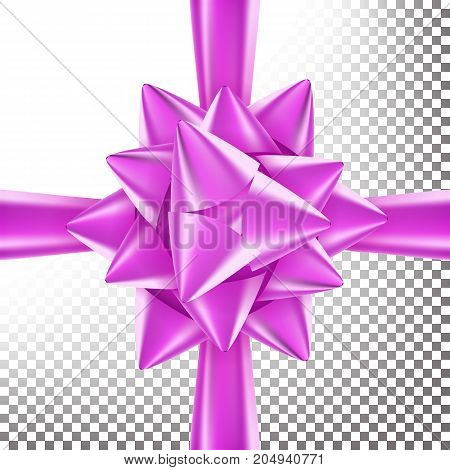 Realistic Bow Vector. Decoration For Birthday Gift, Anniversary, Party, Xmas Tree Design. Isolated On Transparent Background Illustration.