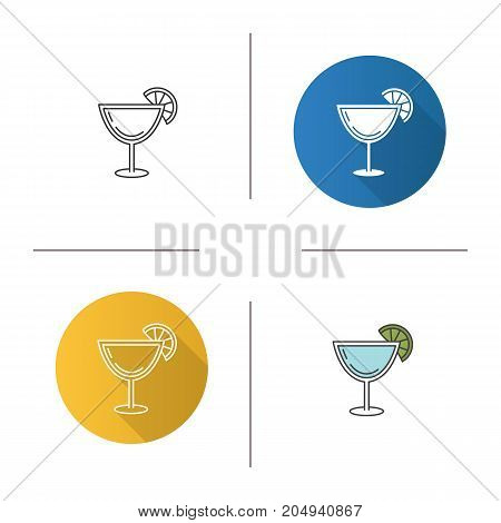 Margarita cocktail icon. Flat design, linear and color styles. Martini drink. Isolated vector illustrations