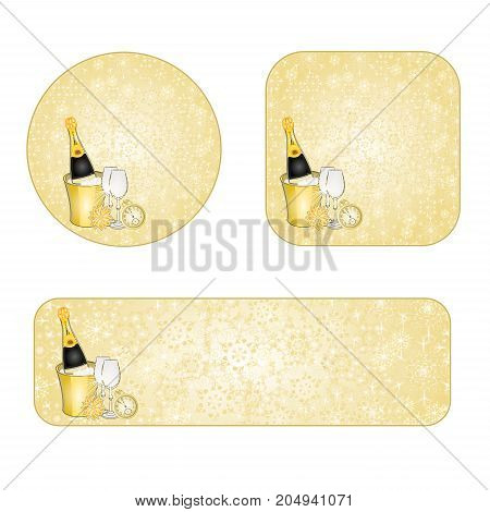 Banner and buttons New Year snowflakes and midnight toast gold background vintage vector illustration editabble hand draw
