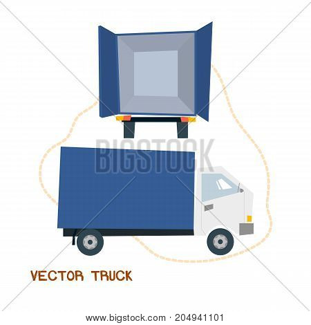 Delievery truck rear and side view cartoon style illustration vector EPS10