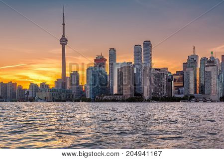 Toronto skyline at sunset in Ontario, Canada.