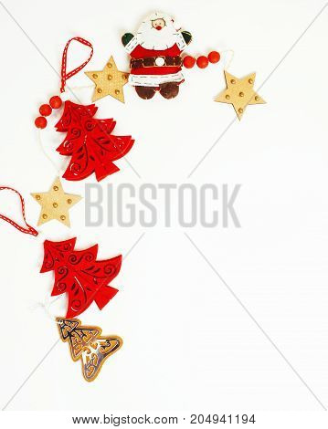 christmas decoration isolated , white background for post card gift vintage, copyspace for text, fashion stylish red toys close up