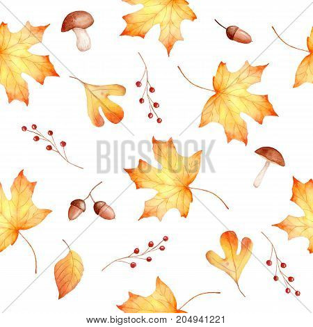 Autumn watercolor seamless hand drawn pattern with leaves berries and mushrooms