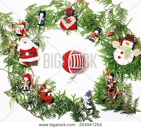 christmas decoration isolated , white background for post card gift vintage copyspace