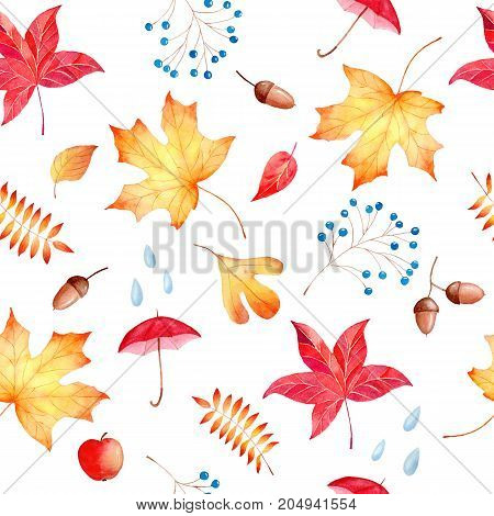 Hand drawn watercolor seamless pattern autumn theme with colorful leaves berries and umbrellas