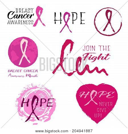 Grunge banners with breast cancer pink ribbon from hand written brush strokes isolated on white. National Breast Cancer Awareness Month. Vector illustration