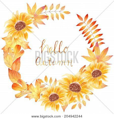 Hello autumn - watercolor hand drawn painting with colorful sunflowers and leaves