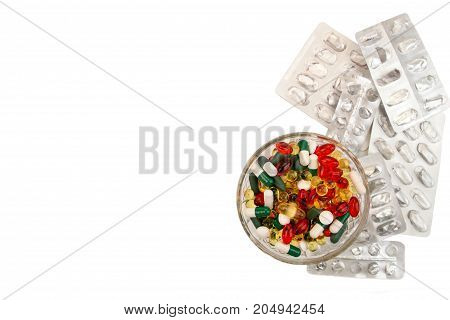 Pills Background. Heap Of Assorted Various Medicine Tablets And Pills Different Colors In Glass Bowl