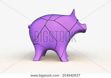 a broken pink piggy bank (3d rendering)