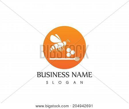 Honey And Bee Logo Design Template