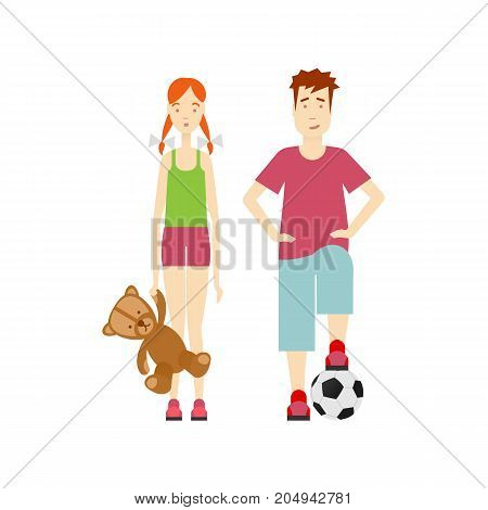 vector flat young boy stands with football ball, young girl keeps bear toy. Isolated illustration on a white background. full lenght portrait. Family character cartoon concept.