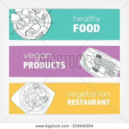 Collection of horizontal banner templates with monochrome vegan food hand drawn on bright colored background. Special offers and deals. Vector illustration for vegetarian restaurant advertisement