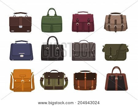 Bundle of trendy men s handbags - cross body, satchel, messenger, holdall bags, suitcase. Modern leather accessories of different types isolated on white background. Colorful vector illustration