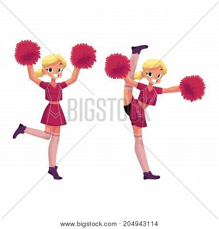 vector cartoon smiling cheerleader blond girl character dancing with pom-poms raising hands up, another girl doing splits set. Isolated illustration ona white background.