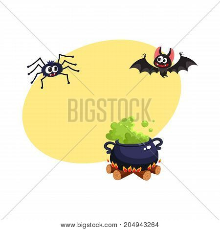 Caldron, bat and spider, traditional Halloween symbols, elements, cartoon vector illustration with space for text. Cartoon style Halloween caldron with green potion, flying bat and spider