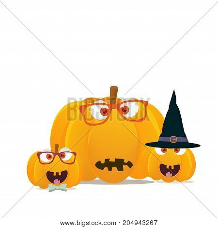 Vector illustration:Halloween pumpkins mascots isolated. Funny halloween pumpkin or squash characters faces.