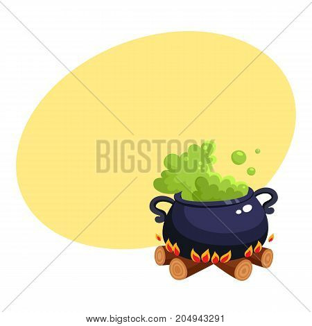 Halloween caldron, cauldron with boiling green potion on wood fire, cartoon vector illustration with space for text. Cartoon style Halloween caldron with magic green potion boiling inside