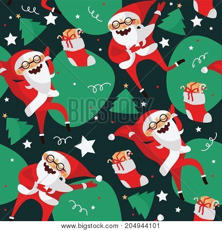 Set with lovely dancing Santa Claus hand drawn in different dance steps. Vector collection with lovely character with closed eyes in bright colors