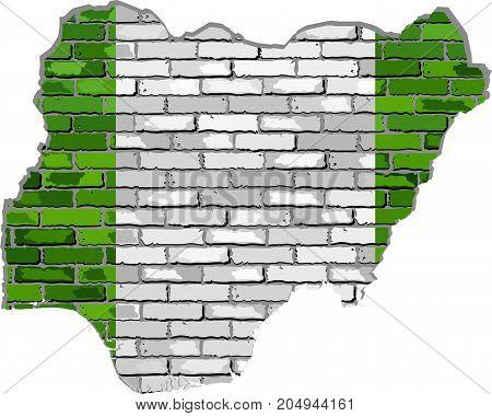 Nigeria map on a brick wall - Illustration,   Nigeria map with flag inside