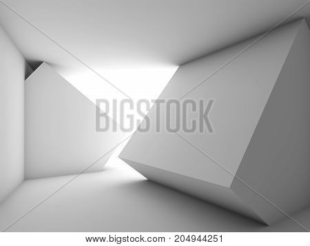 Abstract White Empty Room Interior 3 D