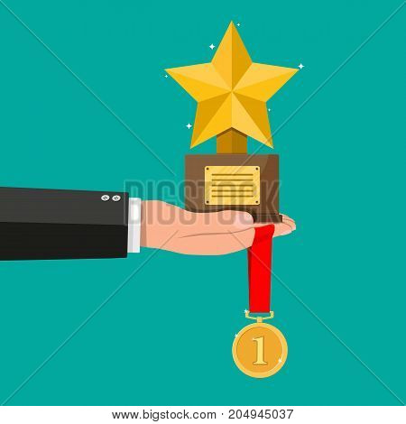 Trophy winner gold cup with wooden base in hand. Star shape. Award, victory, champion achievement. Gold medal with ribbon. Vector illustration in flat style