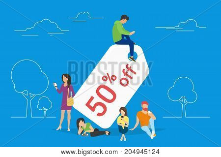Discount tag 50 percent off concept illustration of young people using mobile gadgets such as tablet and smartphone for online sale coupons and offers. Flat guys and women sitting near the symbol