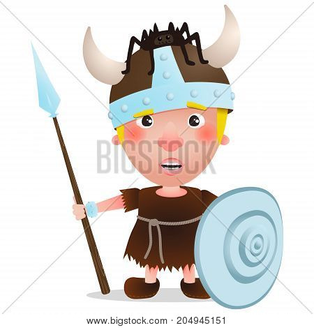 vector Viking character warrior with spider on hat. Cartoon illustration