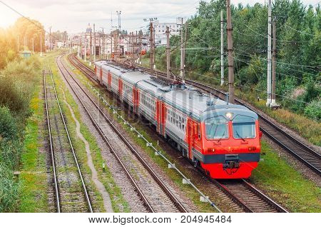 Electric Train Drives At The Station Saint-petersburg