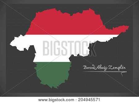 Borsod-abauj-zemplen Map Of Hungary With Hungarian National Flag Illustration