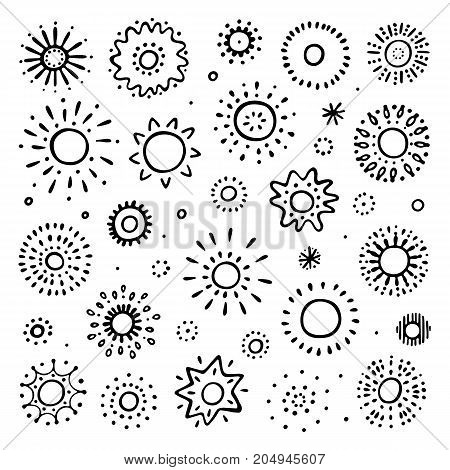 Set of hand drawn sun on white background. Sun icon. Stylized sun. Vector Illustration.