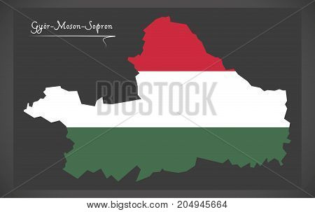 Gyor-moson-sopron Map Of Hungary With Hungarian National Flag Illustration