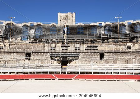 A section of  the Roman Amphitheatre, Arles, France