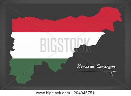 Komarom-esztergom Map Of Hungary With Hungarian National Flag Illustration