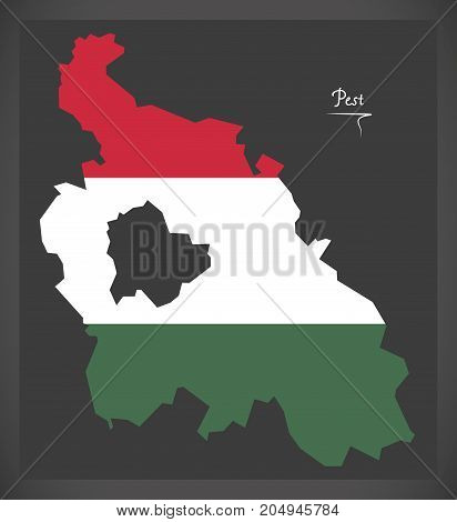 Pest Map Of Hungary With Hungarian National Flag Illustration