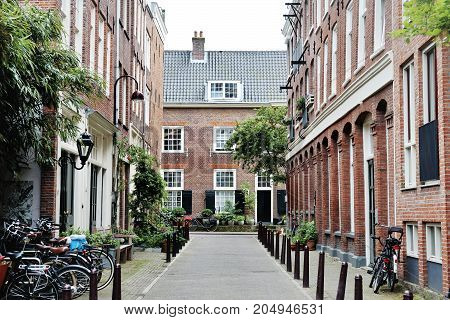 View of a street in Amsterdam Holland Europe