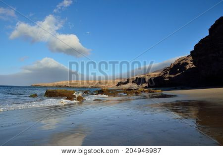 Awesome beach in low tide, coast of Jandia, Fuerteventura island, Spain