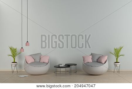 reception room,living room with sofa,empty room,wooden floor,Modern interior,3d rendering.