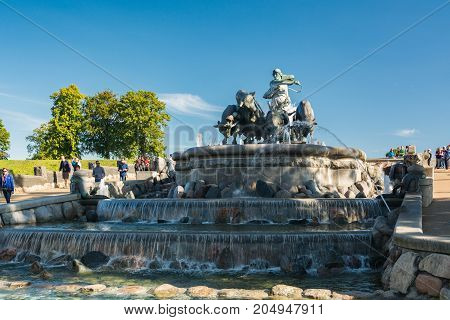 Copenhagen Denmark - september 3 2017: The Gefion Fountain is a large fountain on the harbour front in Copenhagen. It features a group of animal figures being driven by the Norse goddess Gefjon.