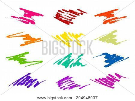 Grunge brush strokes in different shapes and colors for your design isolated on white background. Vector illustration