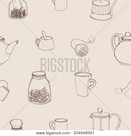 Beautiful seamless pattern with hand drawn kitchen tools and ingredients for preparing and drinking tea - french press, teapot, cup, mug, herbs. Monochrome vector illustration for wallpaper