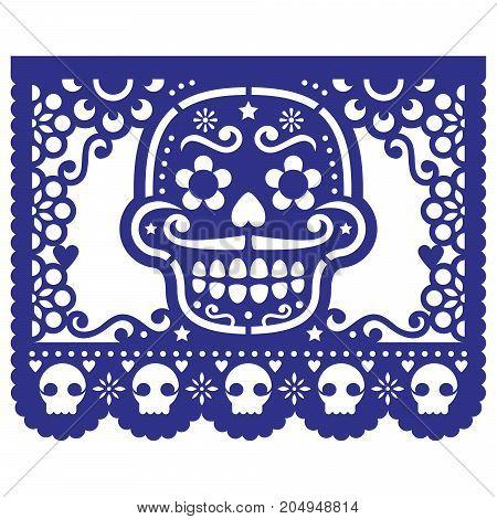 Mexican sugar skull vector paper decorations - Papel Picado design for Halloween, Dia de Los Muertos, Day of the Dead