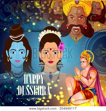 easy to edit vector illustration of Lord Rama Sita with Ravana and Hanuman in Happy Dussehra background showing festival of India