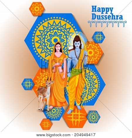 easy to edit vector illustration of Lord Rama and Sita in Happy Dussehra background showing festival of India