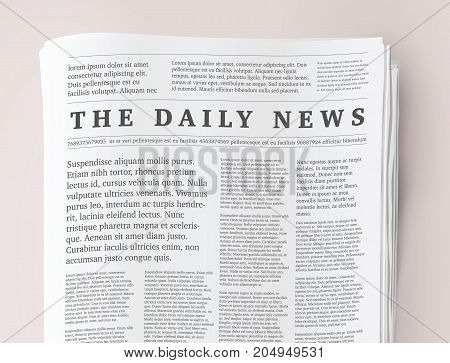 Vector mock up of a blank daily newspaper. Fully editable whole newspaper in clipping mask.