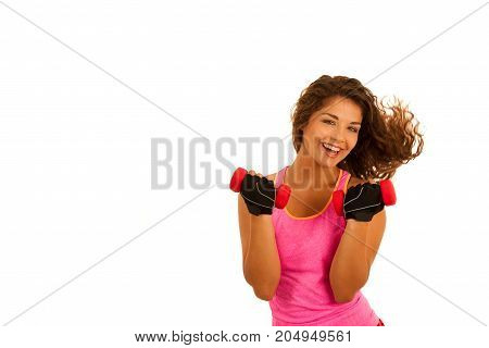 Active Young Fit Woman Workout With Dubbells Isolated Over White Background