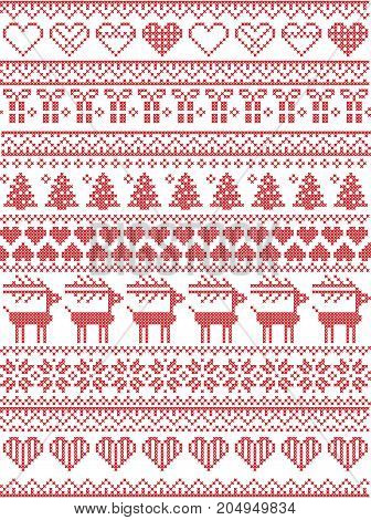 Scandinavian,  Nordic style winter stitching Christmas seamless pattern  including snowflakes, hearts, Christmas present, snow, star, Christmas tree, reindeer and  decorative ornaments in red, white